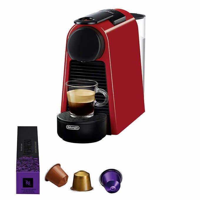 Nespresso essenza red mini coffee machine by delonghi