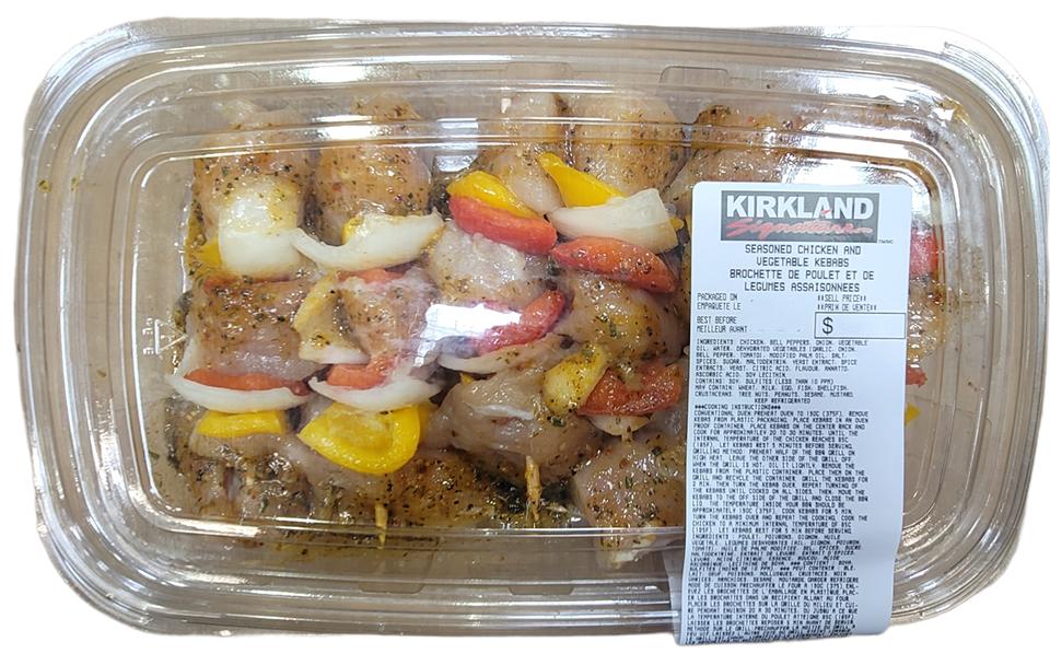 Seasoned chicken and vegetable kebabs (avg. 1.052 kg)