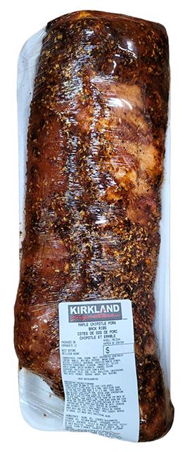 Kirkland maple chipotle pork back ribs (avg. 1.622 kg)