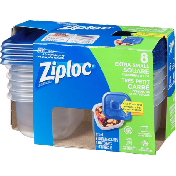 Ziplocfood containers, square extra sma