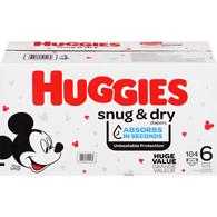 Huggiessnug & dry diapers, size 6, 104 ct
