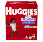 Huggies little movers size 4 plus diapers 186 ct