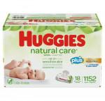 Huggies natural care plus wipes, 18-pack of 64