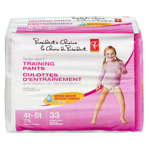 President's choicetraining pants,girls extralarge mega 4t-5