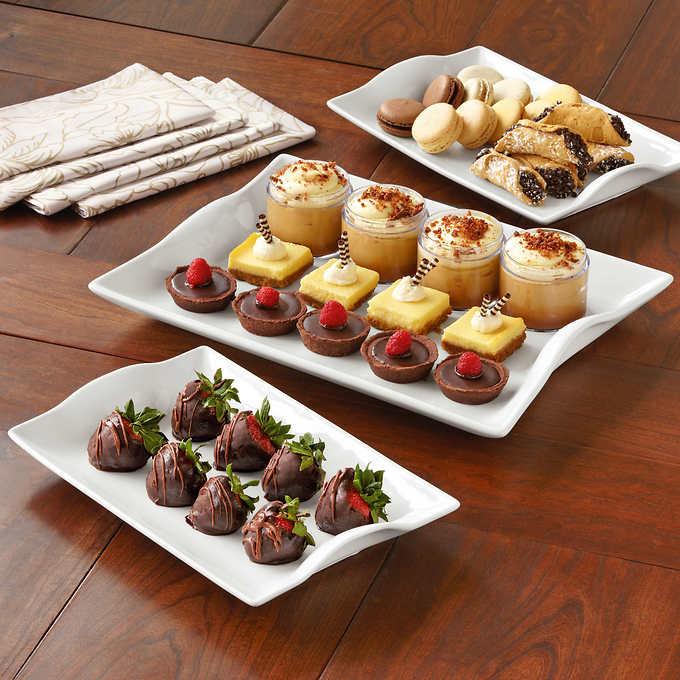 Porcelain serving platter set, 3-piece