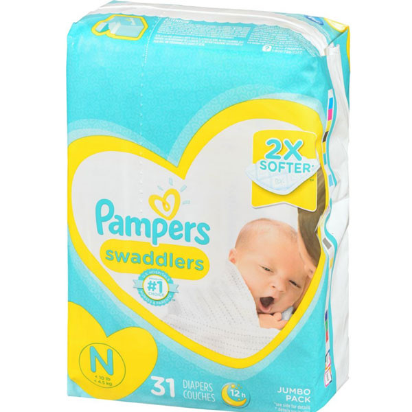 Pampersswaddlers newborn diapers size n 31 coun